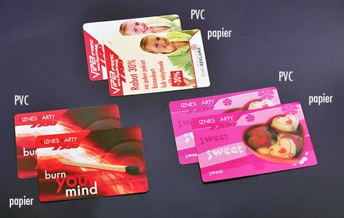 Porównanie kolorystyki druku na papierze i PVC na wybranych wzorach.